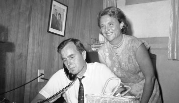 A June 6, 1964 photo of George H. W. Bush, candidate for the Republican nomination for the US Senate, and his wife, Barbara.