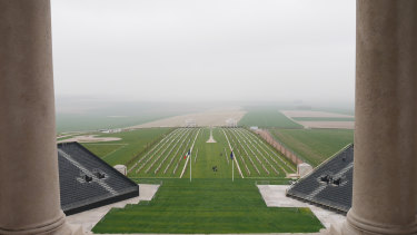 The Villers-Bretonneux war cemetry seen from the Sir John Monash Centre memorial tower.