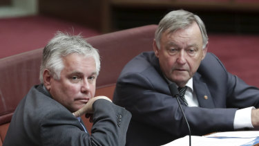 "Independent senator Rex Patrick, left, issued a dissenting report while Labor's Alex Gallacher, right, said the plan was ""as good as it gets""."
