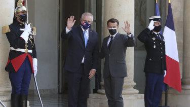 French President Emmanuel Macron and Australian Prime Minister Scott Morrison ahead of a working dinner in Paris.