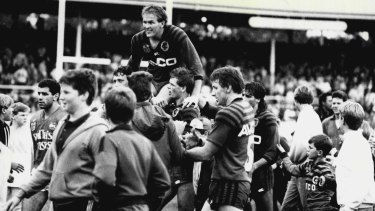 Bears great Don McKinnon is chaired from North Sydney Oval after his last game for the club in 1987.