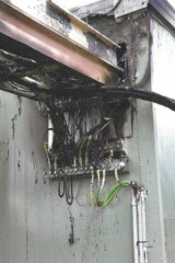 Damaged cables at the phone tower.