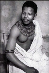 The young Nelson Mandela in Xhosa tribal dress