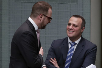 Liberals Senator Andrew Bragg (left) believes the tech giants have shown themselves to be publishers but agrees with colleague Tim Wilson (right) they should not be regulated.