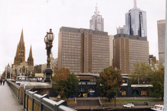The Gas and Fuel towers over the railway, pictured in 1994. They were knocked down to make way for Federation Square.