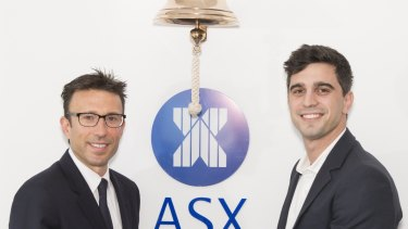 Afterpay executive chairman Anthony Eisen and chief executive Nick Molnar at the IPO ceremony.