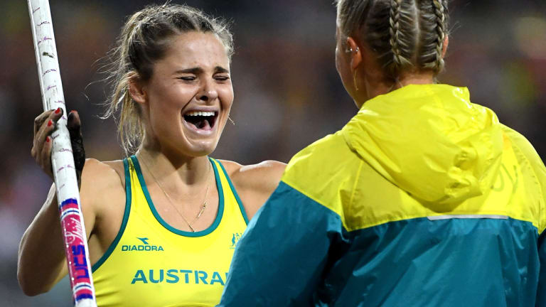 Nina Kennedy is congratulated by Liz Parnov.