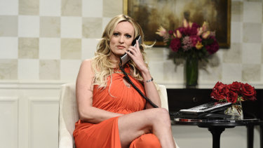 """Stormy Daniels during an appearance on """"Saturday Night Live""""."""