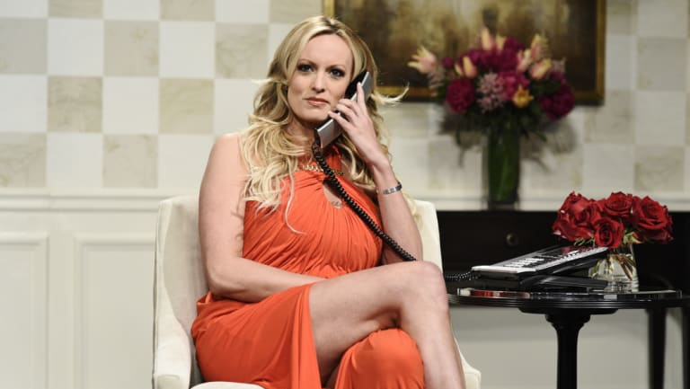 "Adult film actress Stormy Daniels during her appearance on ""Saturday Night Live""."