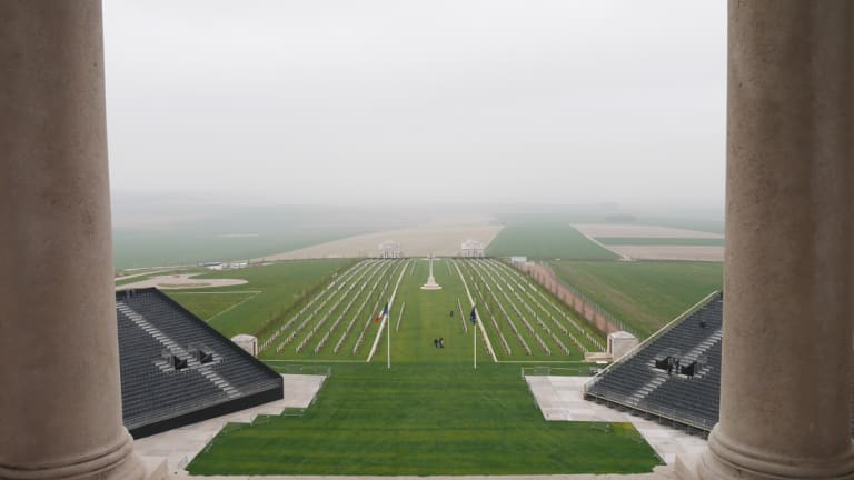The Villers-Bretonneux war cemetry seen from the Sir John Monash Centre memorial tower.