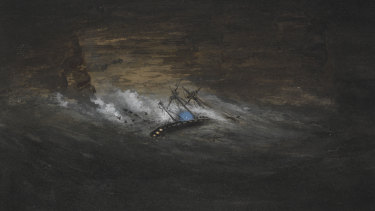 A watercolour painting of the Dunbar wreck, by Steve Meacham.
