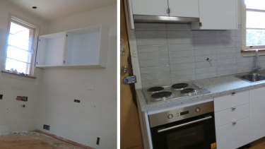 Before and after photos of a kitchen in one of the four houses.