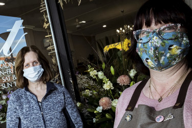 """Annette Duff and Fiona Bens of Irelands Florist in Sunbury say """"click and collect"""" business is booming."""