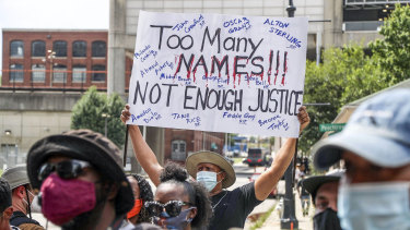 Protesters in Atlanta after the shooting of Rayshard Brooks.