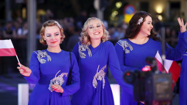 The group Tulia, representing Poland, arriving at this year's Eurovision Song Contest.