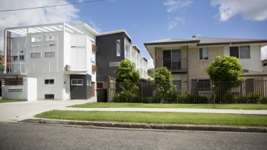 Townhouses, like these at Mount Gravatt East, may be banned in Brisbane's low density residential suburbs.