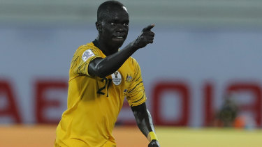 Australia's midfielder Awer Mabil, during an earlier match in this month's AFC Asian Cup in Abu Dhabi.