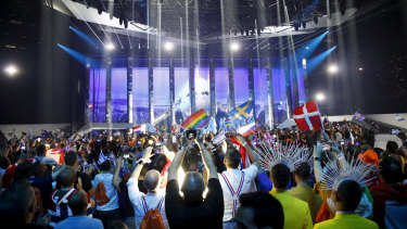 Sea of flags ... the view from the audience at the 64th Eurovision Song Contest.