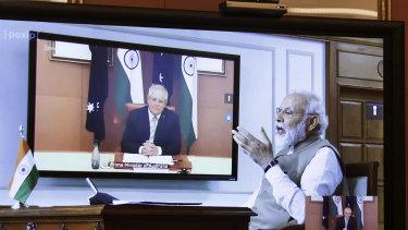 Prime Minister Scott Morrison  and the Prime Minister of India Narendra Modi conduct a virtual summit.