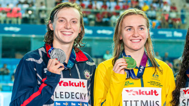 Ariarne Titmus, right, beat Katie Ledecky at the world championships in South Korea last year, but says she will need to be much faster to win Olympic gold.