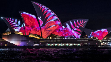 The Sydney Opera House lit up for Vivid.