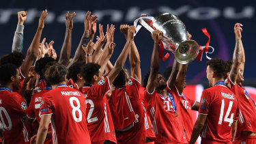 Bayern Munich celebrate winning last season's UEFA Champions League final.