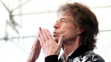 Mick Jagger at the Venice Film Festival for The Burnt Orange Heresy.
