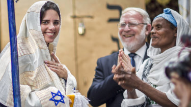 Israeli Justice Minister Ayelet Shaked receives traditional clothes from members of Ethiopia's Jewish community.