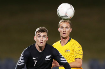 Myer Bevan and Tass Mourdoukoutas, right, in a U23 international friendly between Australian and New Zealand at Campbelltown Stadium in September.