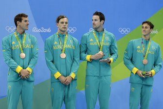 From left, Australia's bronze medal winners at Rio: James Roberts, Kyle Chalmers, James Magnussen and Cameron McEvoy.