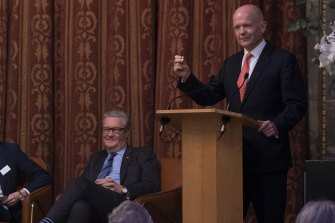 Former Tory leader William Hague (right) with former Australian foreign minister Alexander Downer.