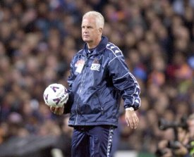 Glory no more: Sacked Syria coach Bernd Stange during his time with Perth Glory in the NSL.