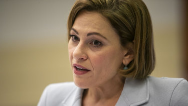 Queensland Treasurer Jackie Trad briefs the media on the state's balance sheet.