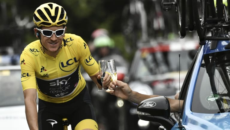Cheers: Geraint Thomas and his team put together a superb race.