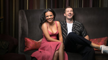 Tapsell with co-star Gwilym Lee, whose most recent role was as Brian May in Bohemian Rhapsody.