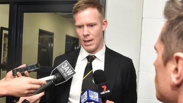 Jack Riewoldt speaks to media following his AFL tribunal hearing.