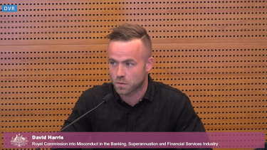 Roofer David Harris talked about his problem gambling at the banking royal commission on Thursday.