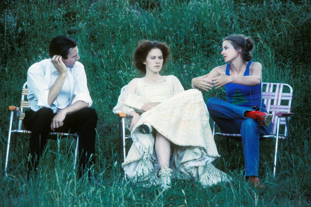 On the set of My Brilliant Career 40 years ago are Sam Neill, Judy Davis and director Gillian Armstrong.
