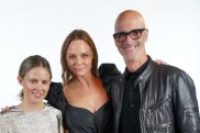 Kirsten Lock (left) and Simon Lock (right) with designer Stella McCartney.