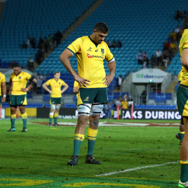 Dejected Wallabies players after losing to Argentina in 2018. The once high-flying national team has slipped to seventh in the world rankings.