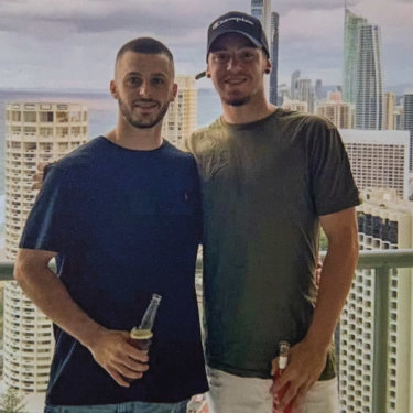 Jack (at right) with his brother Mitch at Surfers Paradise.