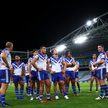 The Bulldogs after their round two loss to the Sea Eagles ... with no fans, and just days before the season was put on hold.