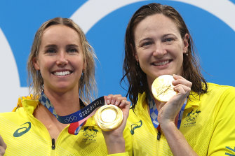 Emma McKeon and Cate Campbell collected gold in the women's 4x100m freestyle relay.