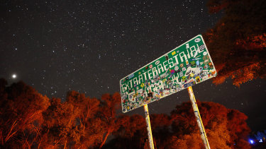 A sign for state route 375, known as the Extraterrestrial Highway, which cuts through Crystal Springs in Nevada.