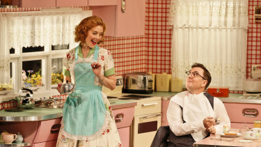 Nikki Shiels and Toby Truslove on stage in Home, I'm Darling for the MTC.