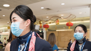 Everyone on the Wuhan-Sydney flight was wearing a face mask.