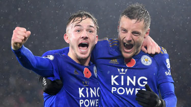 James Maddison and Jamie Vardy enjoy Leicester City's victory over Arsenal FC at The King Power Stadium.