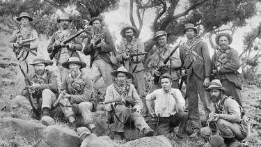 Boer troops on the South African veldt during the Boer War.