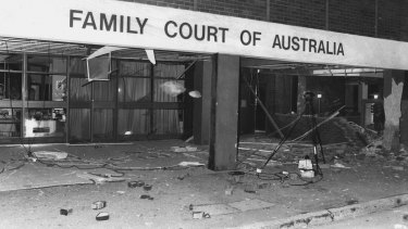 """""""After the bomb last night... the foyer of the Family Court littered with debris."""" April 15, 1984"""