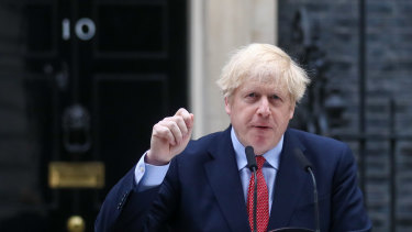Prime Minister Boris Johnson outside Downing Street on his first day back since contracting coronavirus.